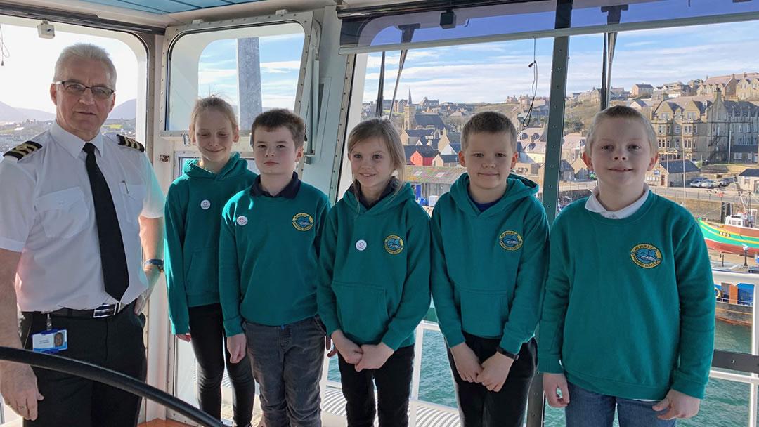 Primary school pupils on board MV Hamnavoe for Fairtrade Fortnight
