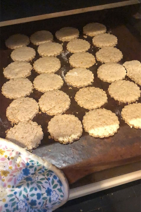 Oatcakes going into the oven
