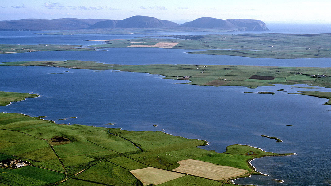 Aerial view of the Loch of Harray in Orkney