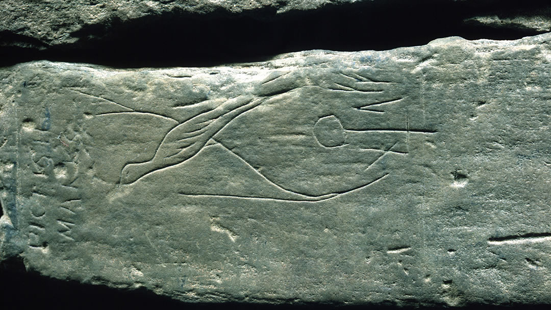 Carving in Unstan Chambered Cairn in Orkney