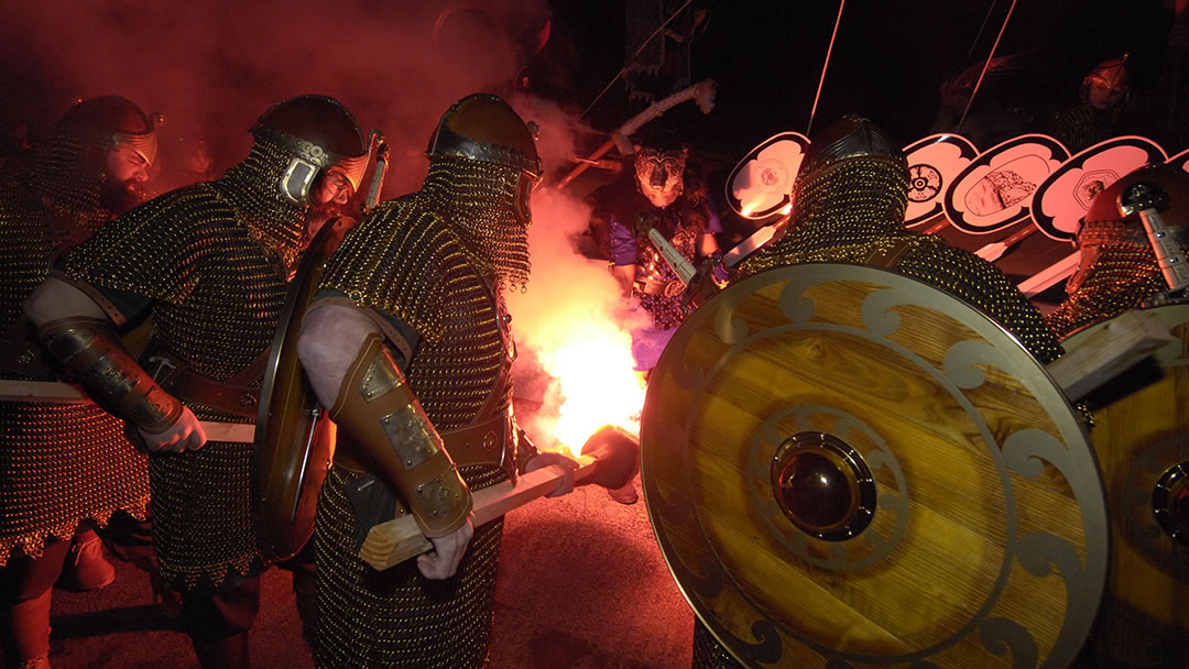 Lighting up the torches at Up Helly Aa