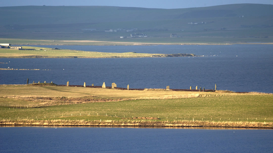 Looking over the Loch of Stenness to the Ring of Brodgar