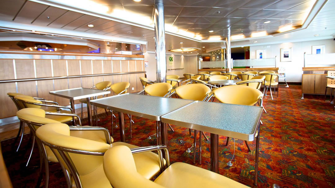 Seating in the Feast restaurant on board the ferry to Orkney and Shetland