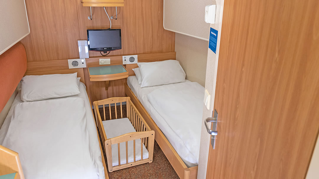 Cabin containing a small cot