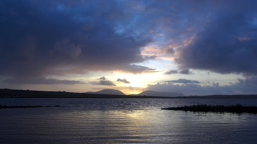 Stenness loch in Orkney at sunset