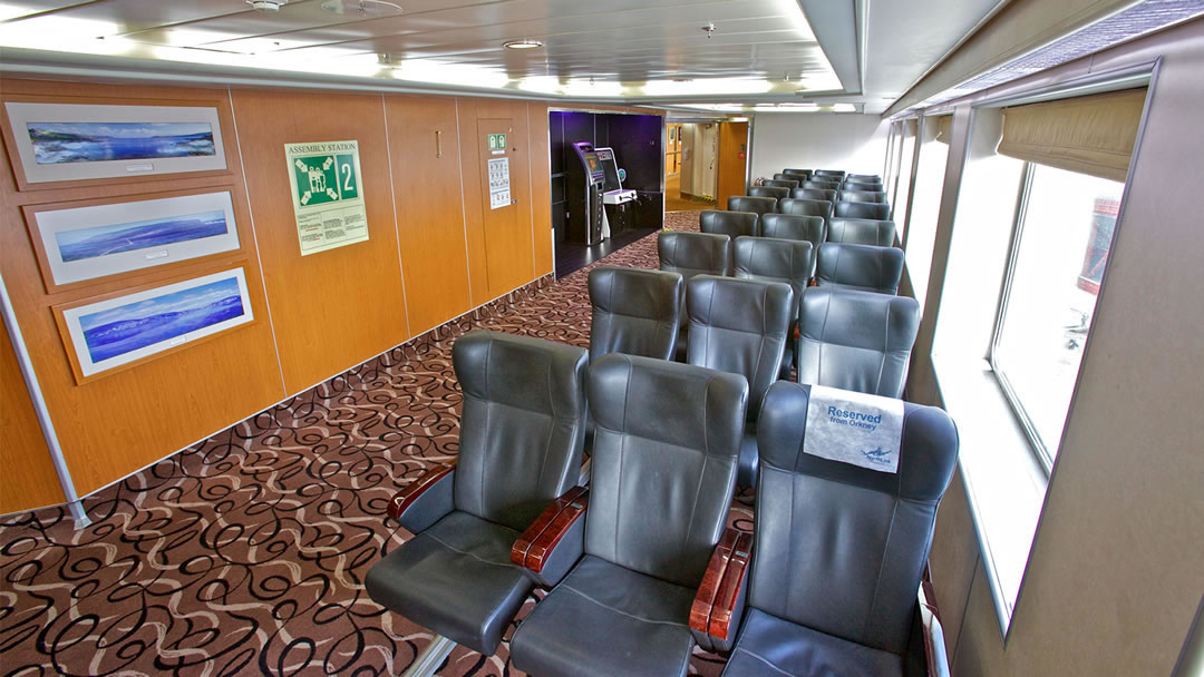 The reclining seats on board the ships to Shetland and Orkney