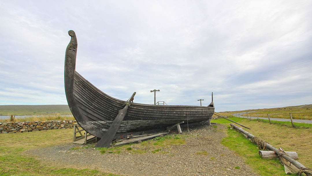 Skidbladner - a replica Viking galley at Haroldswick, Unst, Shetland
