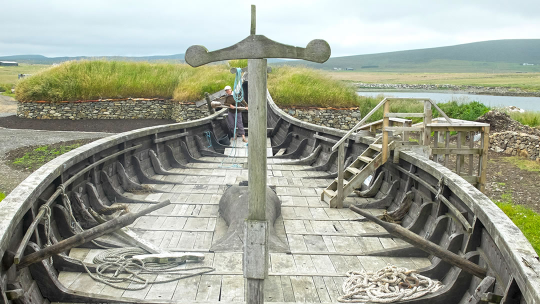 Skidbladner - a viking galley at Haroldswick, Unst, Shetland
