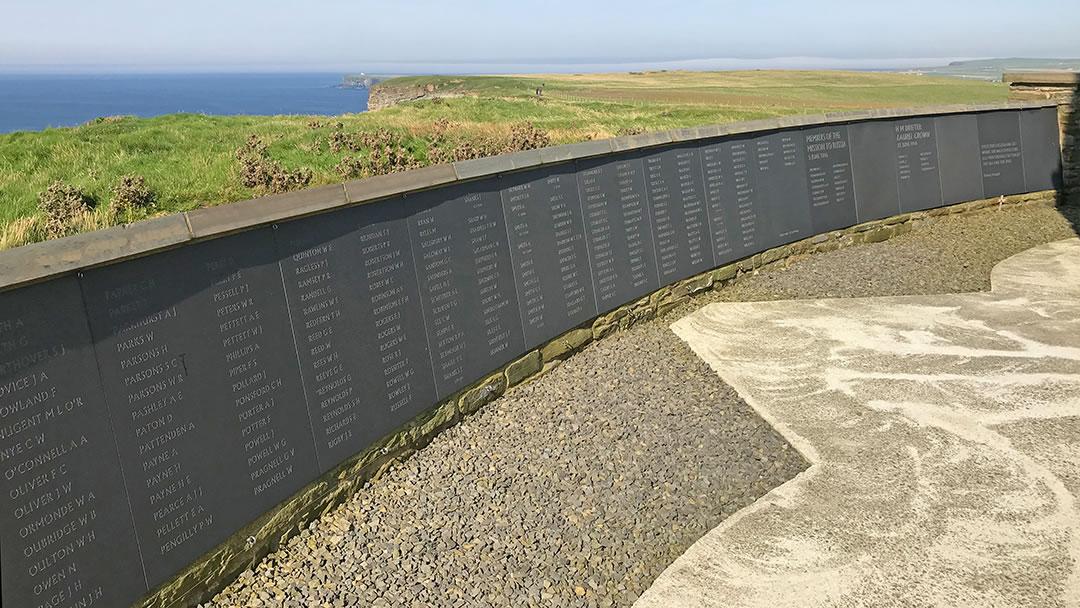 The memorial wall at Kitchener's Memorial