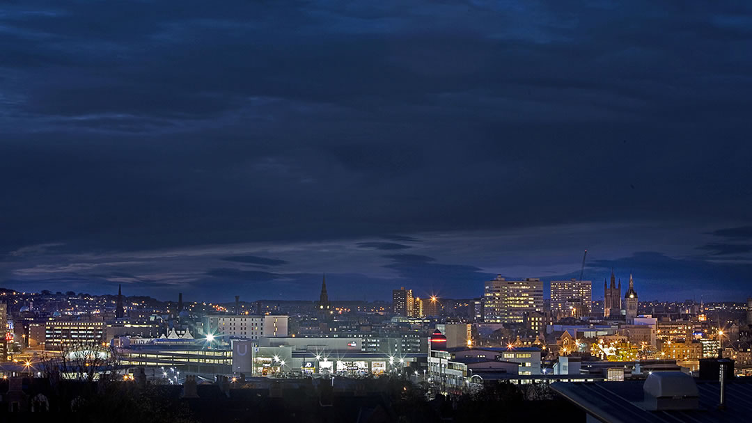 Aberdeen cityscape in the evening
