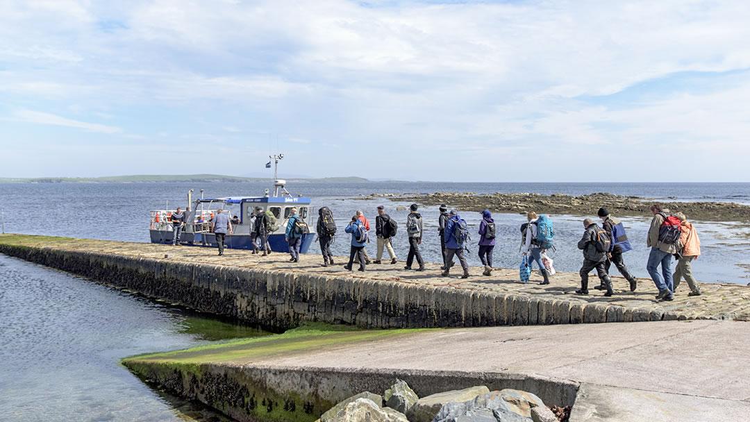 Boarding the Mousa ferry in Sandwick, Shetland
