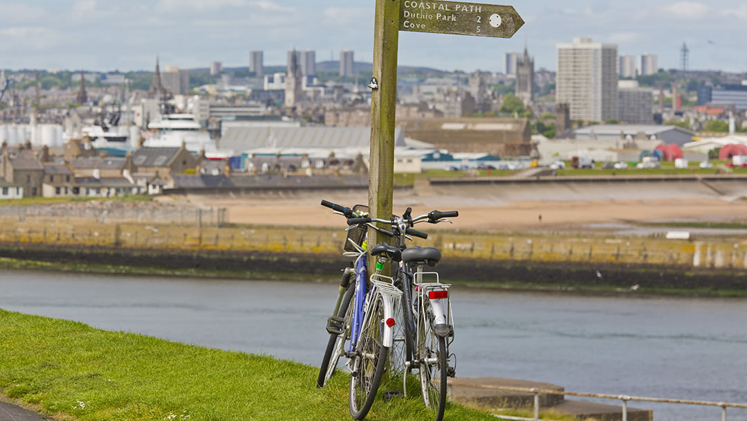 Cycles with Aberdeen Beach in the background