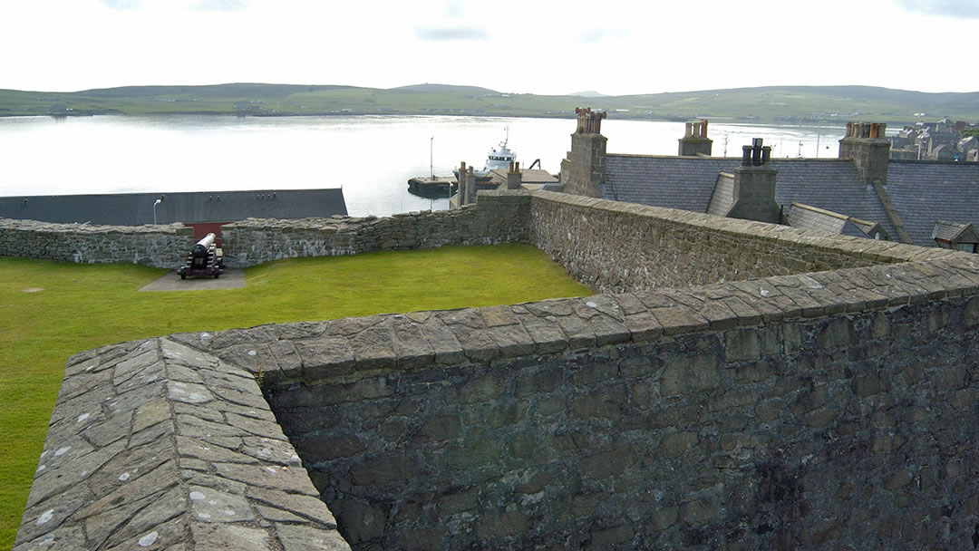 Fort Charlotte looking over Bressay Sound in Shetland