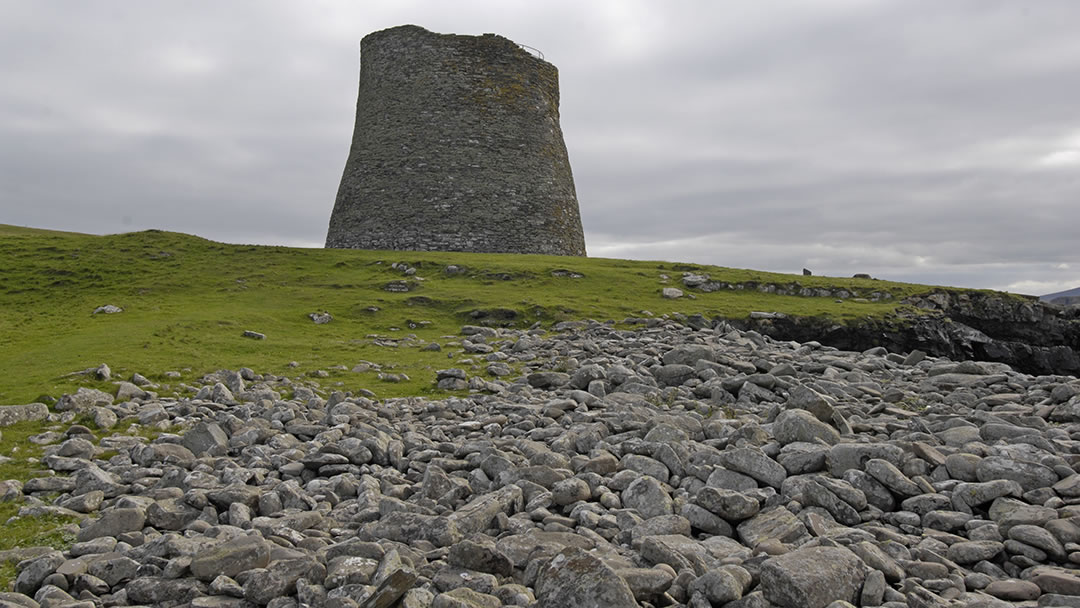View of the broch from the shingle beach on Mousa, Shetland