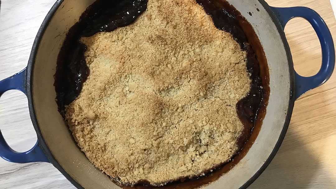 Christmas Crumble recipe from Orkney - fresh out of the oven
