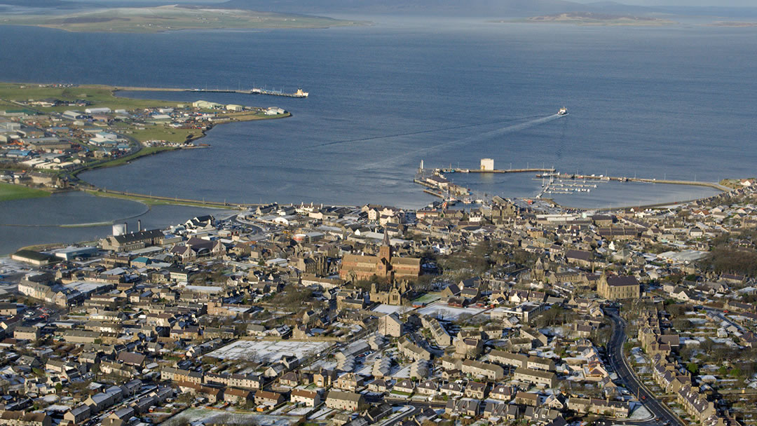 Kirkwall in Orkney from the air