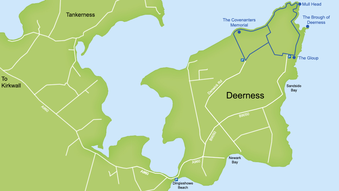 Map of Deerness in Orkney
