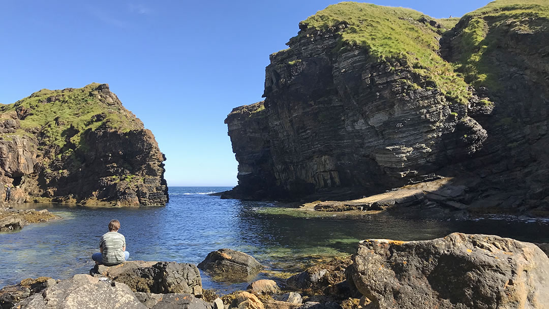 Rocky cove under the Brough of Deerness in Orkney