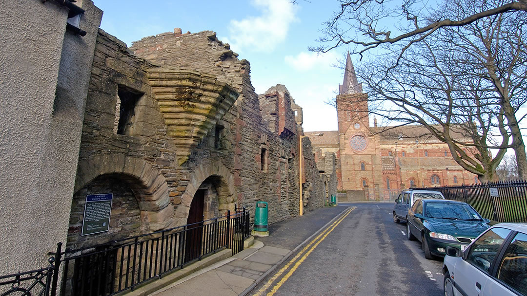 The exterior of the Bishop's Palace and St Magnus Cathedral in Kirkwall, Orkney