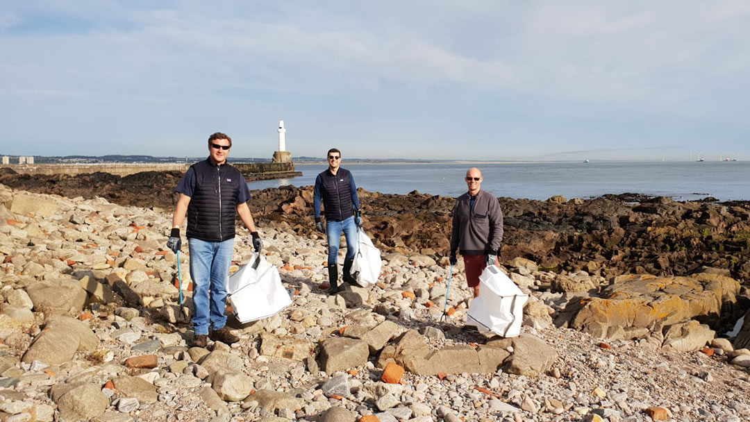Beach cleaning at Greyhope Bay in Aberdeen