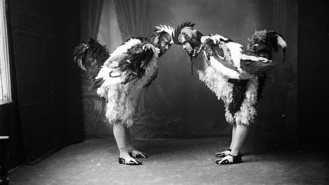 Two guizers from Up Helly Aa 1923 - Chanticleers