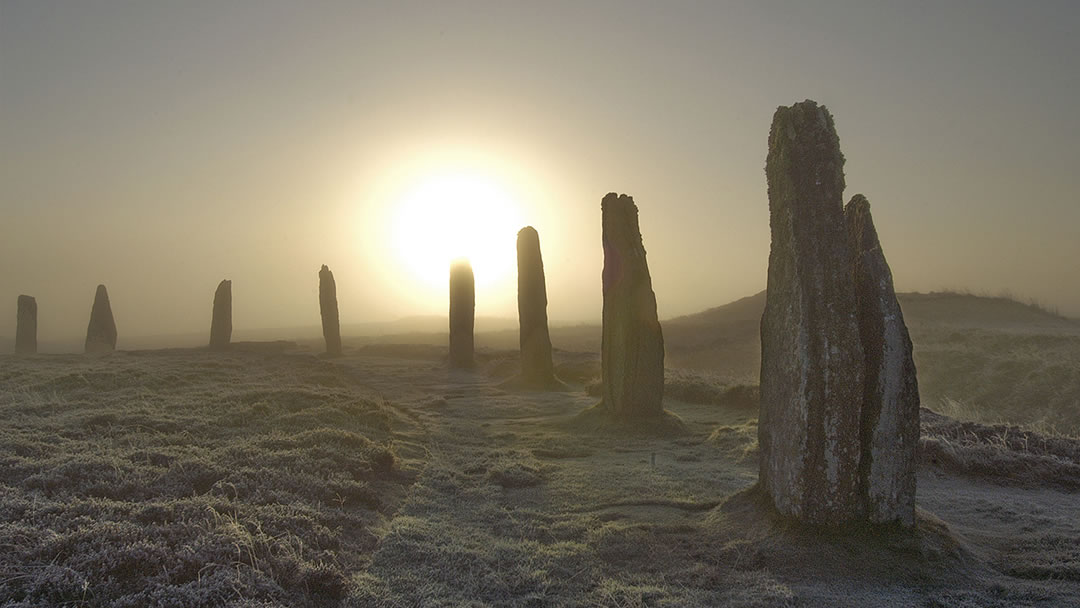 The Ring of Brodgar in Orkney at dusk