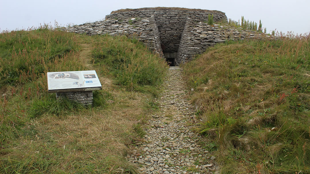 Quoyness chambered tomb exterior in Sanday, Orkney