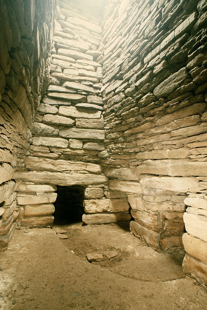 Quoyness chambered tomb interior in Sanday, Orkney