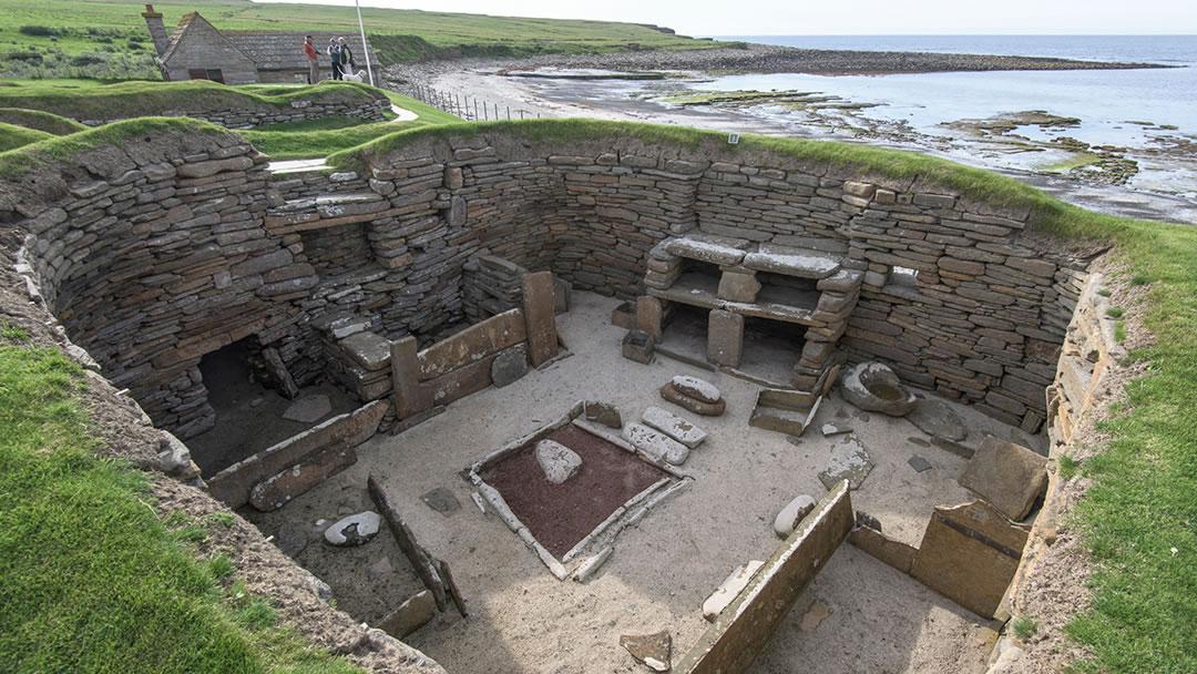 Inside a Skara Brae Neolithic house, Orkney
