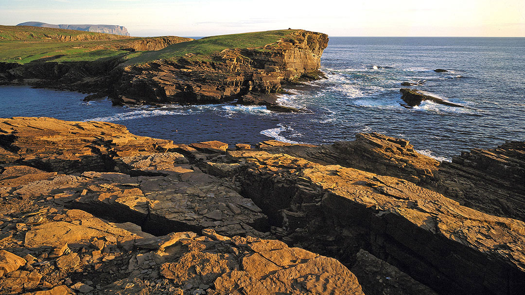 Looking south from the Yesnaby cliffs and to the Brough of Bigging