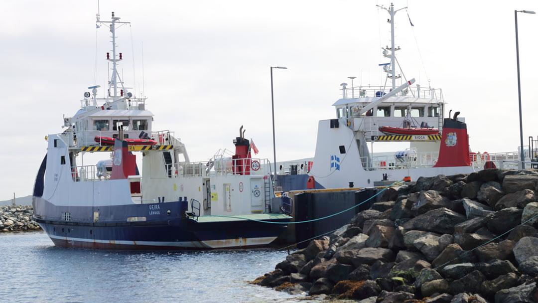 Fetlar ferry at Hamars Ness in Shetland