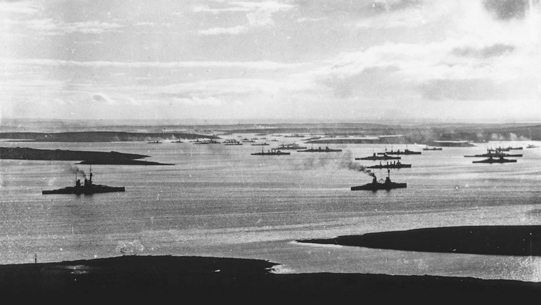 The German High Seas Fleet interned in Scapa Flow Orkney
