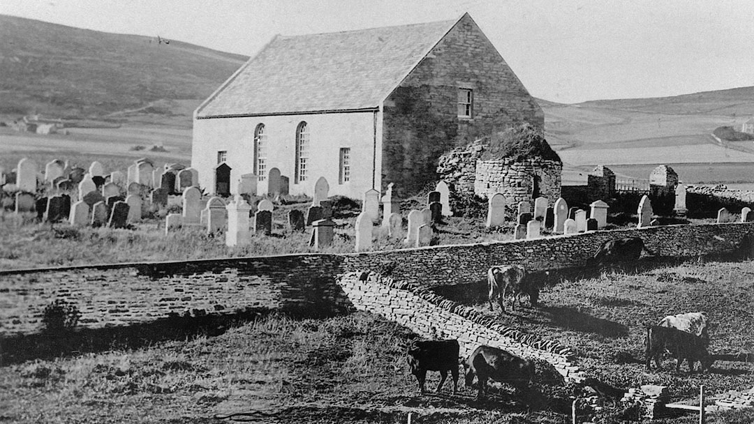 The Round Kirk in Orphir and newer church, now demolished, in Orkney